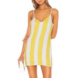 Alice + Olivia Yellow & White Striped Sequin Dress